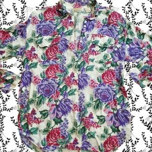 Vintage 70s floral rayon Sz Small blouse